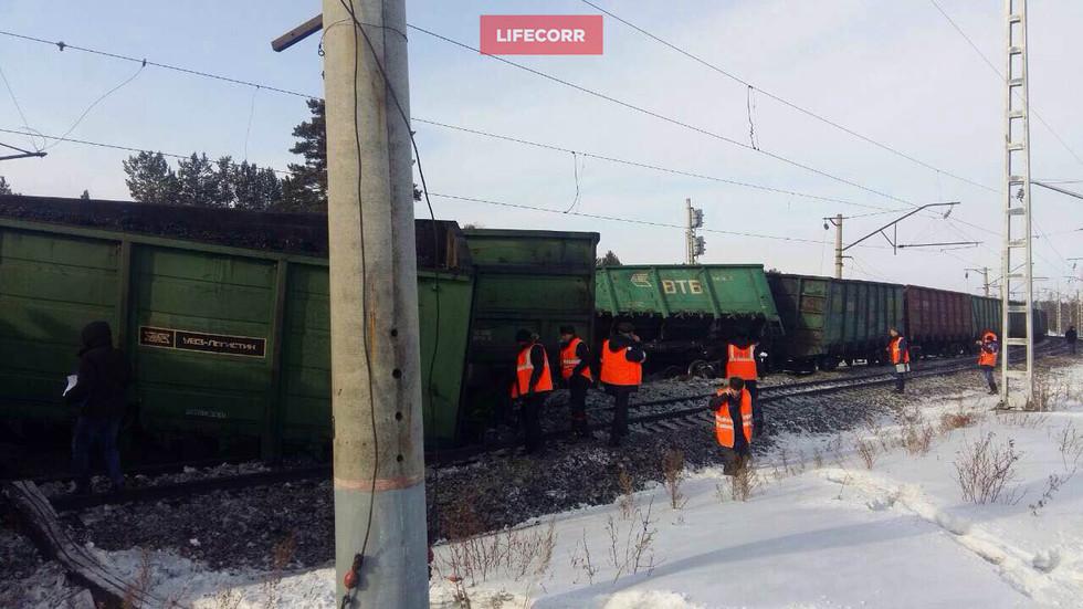 ВИркутской области 15 вагонов суглем сошли срельс